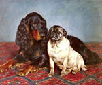 A Setter and A Pug by  Otto Bache (Painting ID: AN-0317-KA)