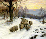 A Shepherd and His Flock on a Path in Winter  by  Wright Barker (Painting ID: AN-2279-KA)