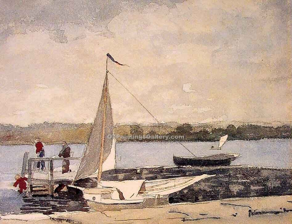 """A Sloop at a Wharf Gloucester"" by  Winslow Homer"