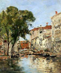 A Small Canal in Venice by  Eugene Louis Boudin (Painting ID: CI-0280-KA)
