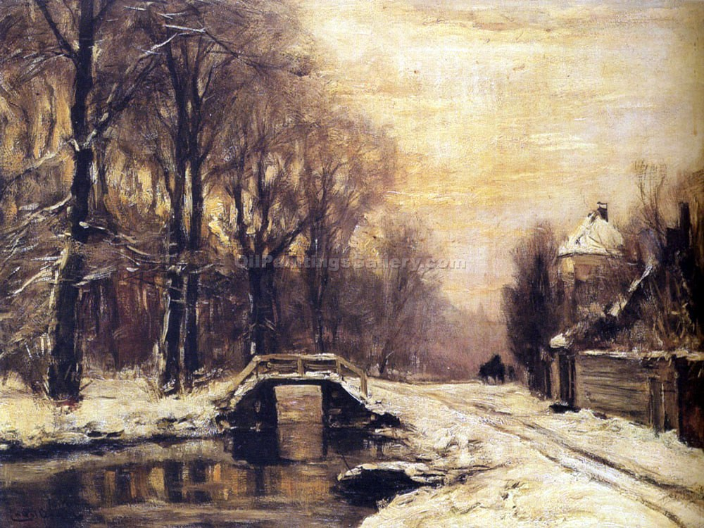 """A Snow Covered Forest with a Bridge Across a Stream"" by  Louis Apol"