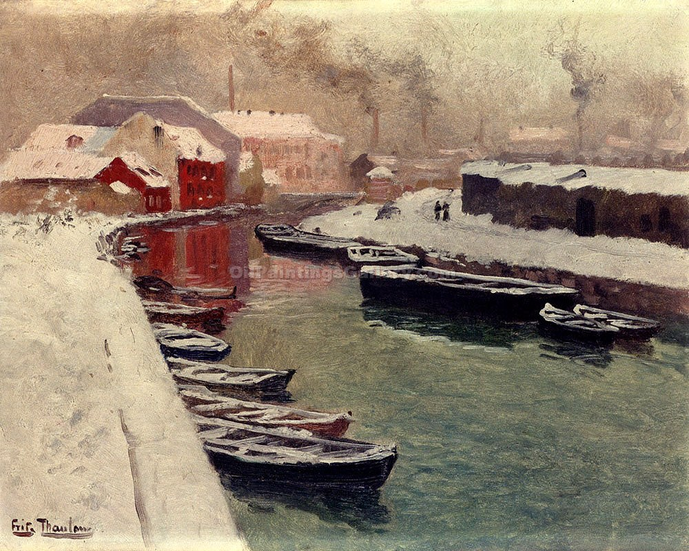 """A Snowy Harbor View"" by  Fritz Thaulow"
