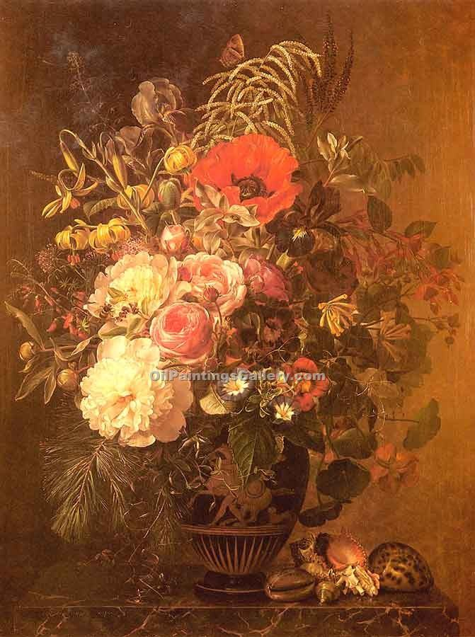 """A Still Life with Flowers"" by  Johan Laurentz Jensen"