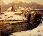 A Stone Bridge Over A Stream In Winter by  Fritz Thaulow (Painting ID: LA-0584-KA)