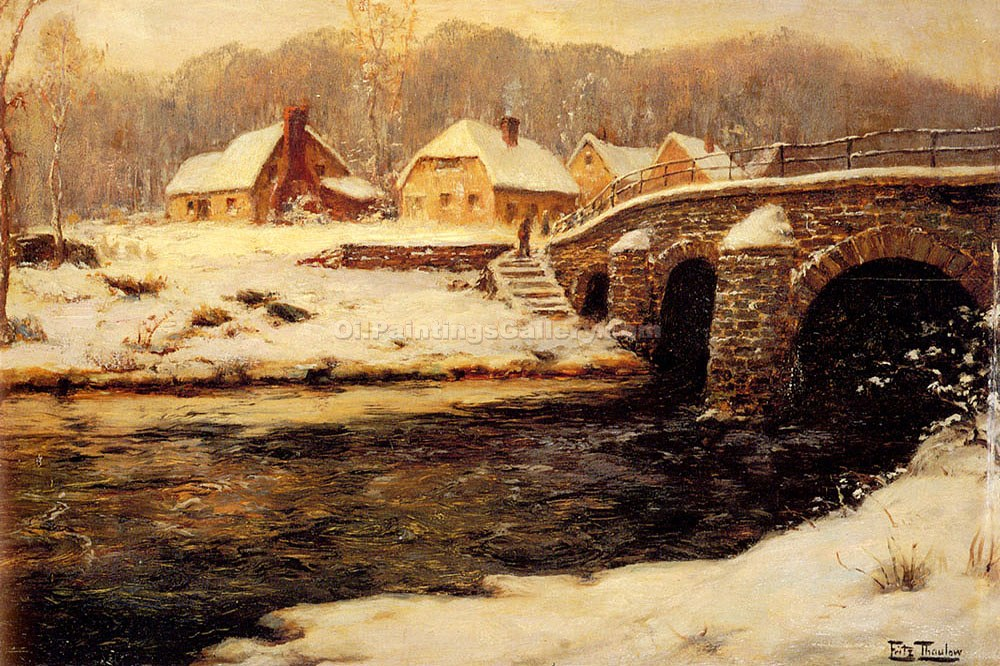 """A Stone Bridge Over A Stream In Winter"" by  Fritz Thaulow"