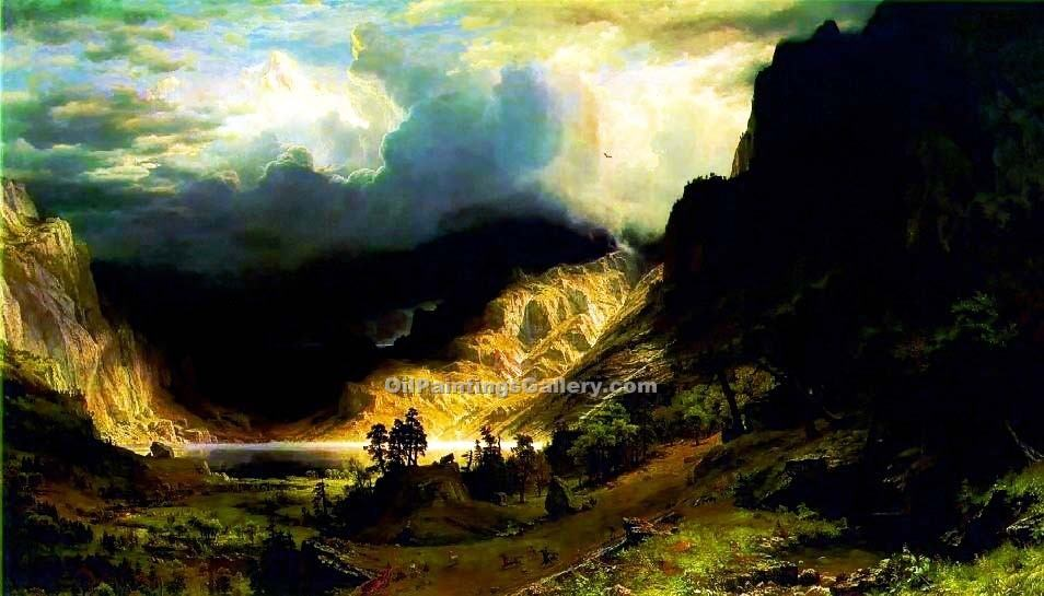 """A Storm in the Rocky Mountains"" by  Albert Bierstadt"