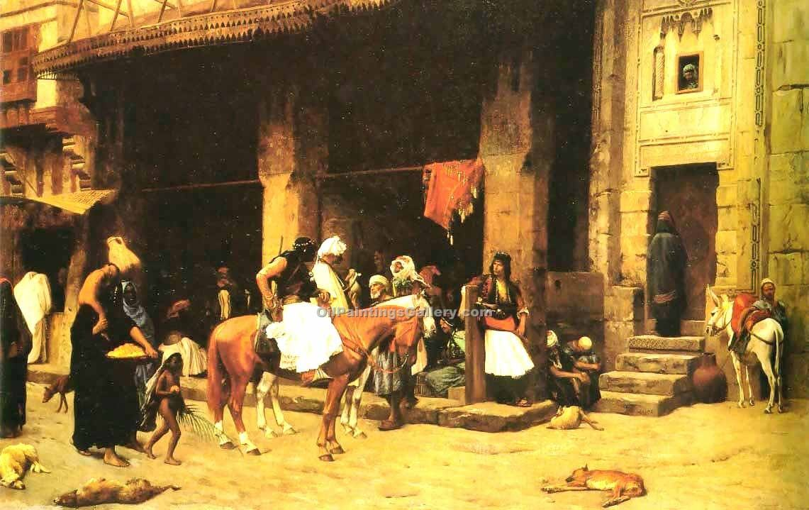 """A Street Scene in Cairo"" by  Jean Leon Gerome"