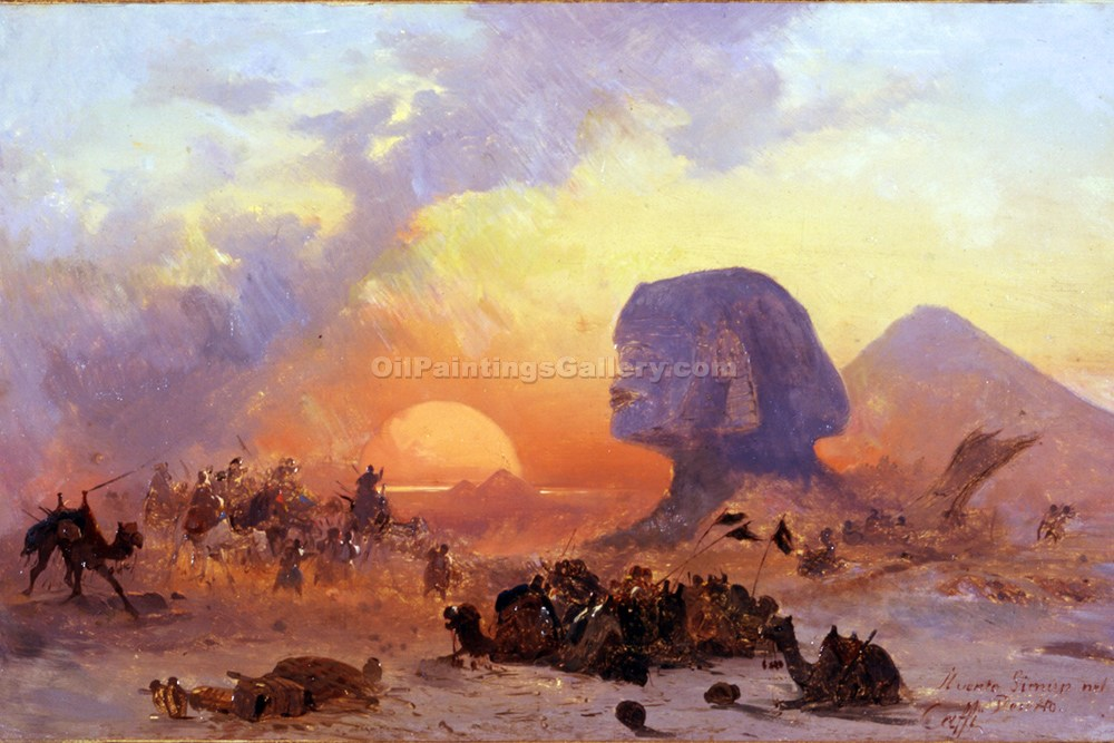 A strong wind in the egyptian desert by ippolito caffi for Egyptian fresco mural painting