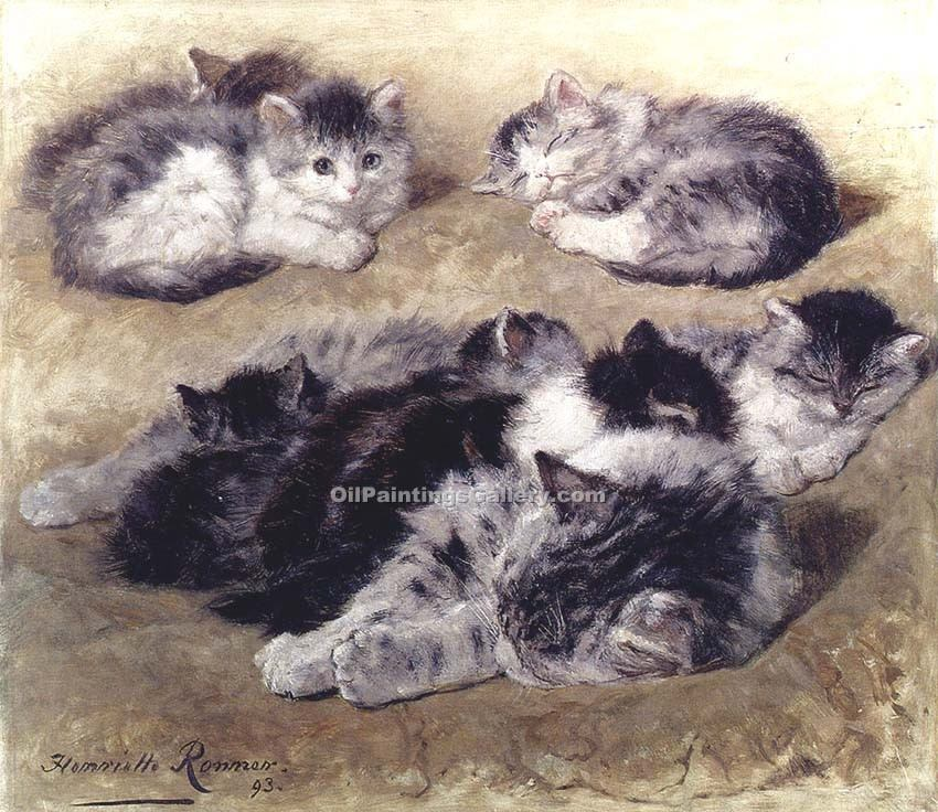 """A Study of Cats"" by  Henriette Ronner Knip"