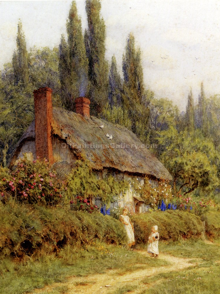 """A Thatched Cottage"" by  Helen Allingham"