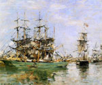 A Three Masted Ship in Port by  Eugene Louis Boudin (Painting ID: LA-2378-KA)