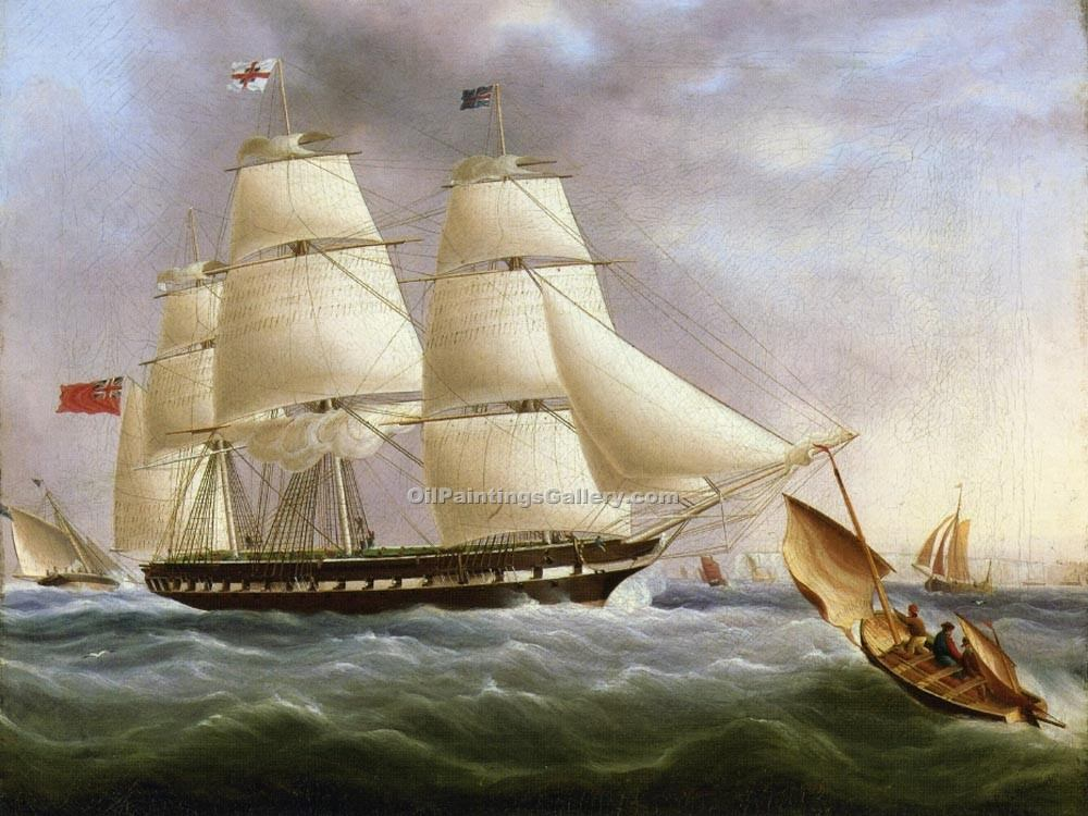 """A Three-Masted Ship off Dover"" by  James E Buttersworth"