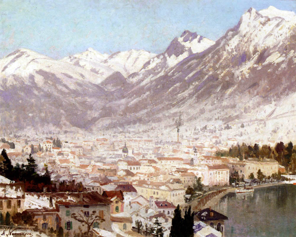 """A View of Como"" by  Adelsteen Normann"