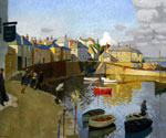A View of Mousehole by  Harold Harvey (Painting ID: LA-2699-KA)