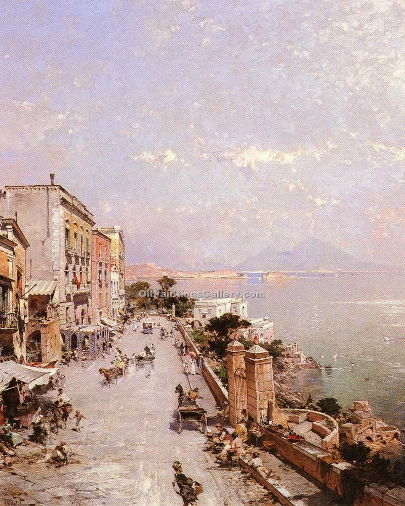 """A View of Posilippo Naples"" by  Franz Richard Unterberger"