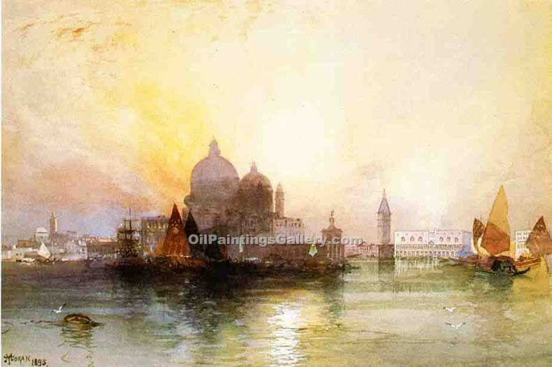 """A View of Venice 60"" by  Thomas Moran"