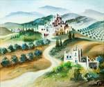 A Village in Galilee Hills by  Dan Livni (Painting ID: AD-0320-KA)
