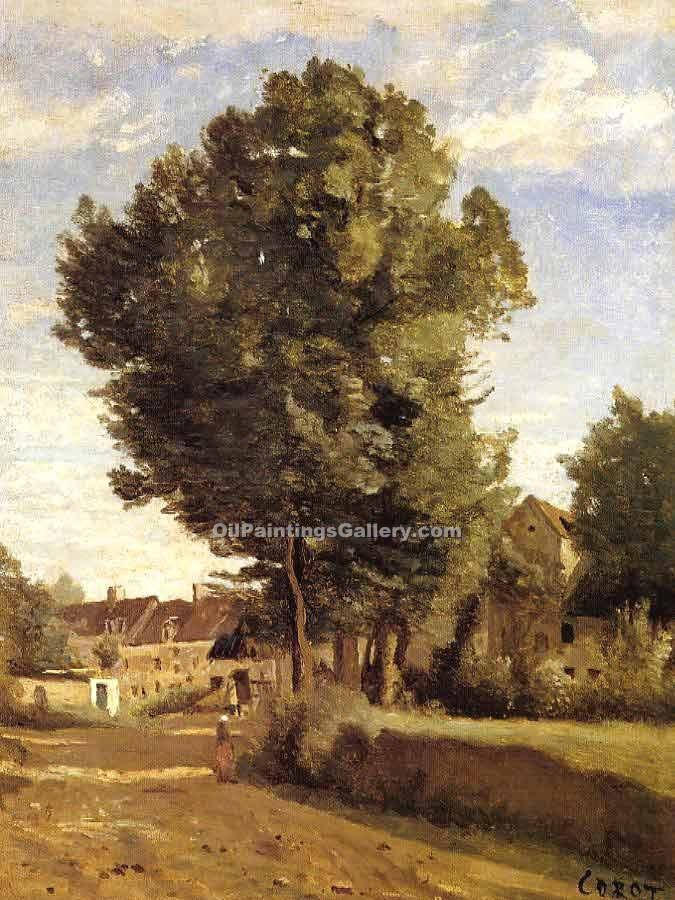 """A Village near Beauvais"" by  Jean Baptiste Corot"