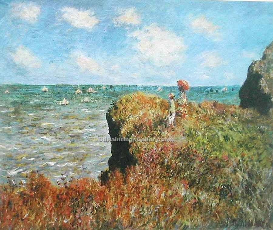 """A Walk on the Cliffs at Pourville"" by  Claude Monet"