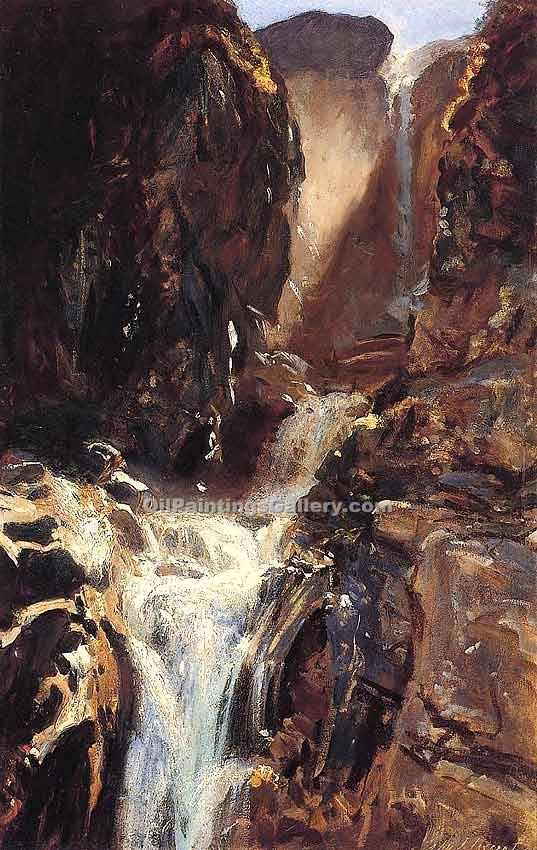 """A Waterfall"" by  John Singer Sargent"
