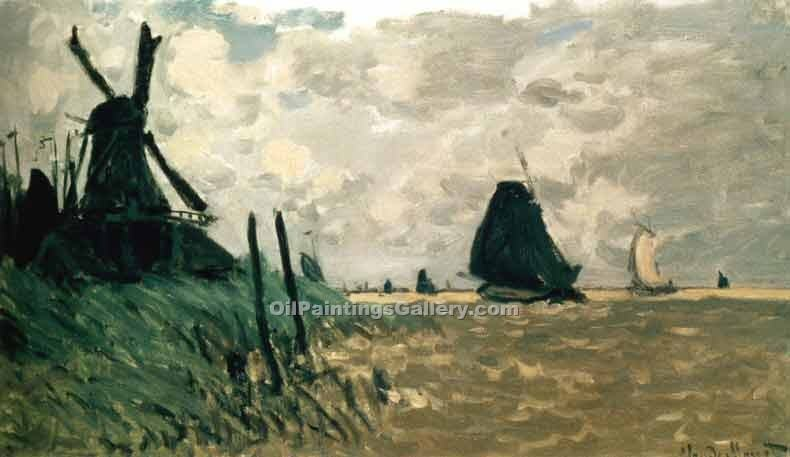 """A Windmill near Zaandam"" by  Claude Monet"