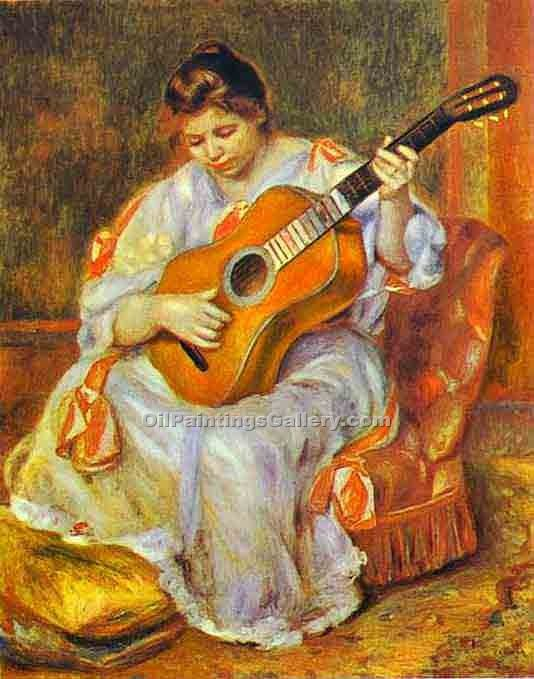 """A Woman Playing the Guitar"" by  Pierre Auguste Renoir"