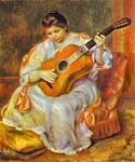 A Woman Playing the Guitar by  Pierre Auguste Renoir (Painting ID: CL-4432-KA)