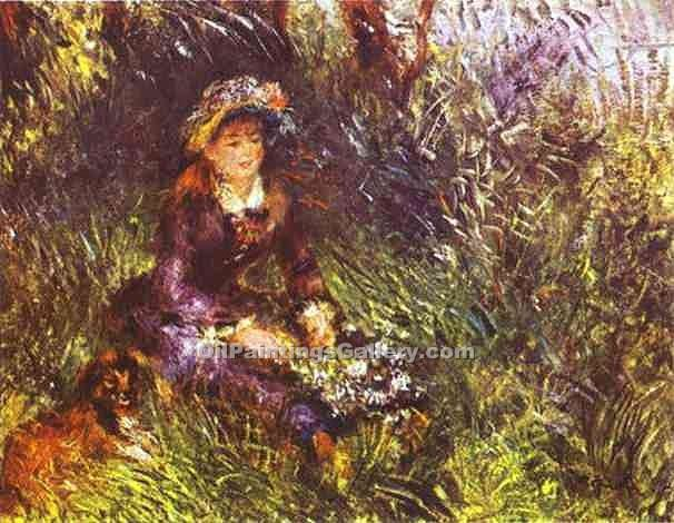 """A Woman with a Dog"" by  Pierre Auguste Renoir"