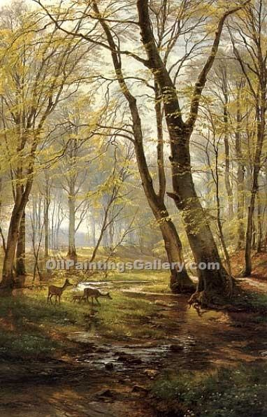 """A Woodland Scene with Deer"" by  Carl Frederic Aagaard"