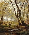 A Woodland Scene with Deer by  Carl Frederic Aagaard (Painting ID: LA-5993-KA)