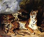 A Young Tiger Playing with its Mother by  Eugene Delacroix (Painting ID: AN-2010-KA)
