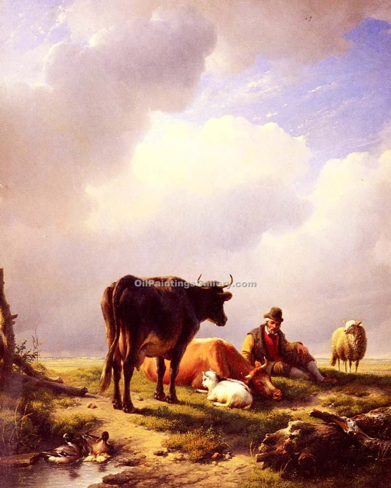 """A farmer at Rest with His Stock"" by  Eugene Joseph Verboeckhoven"