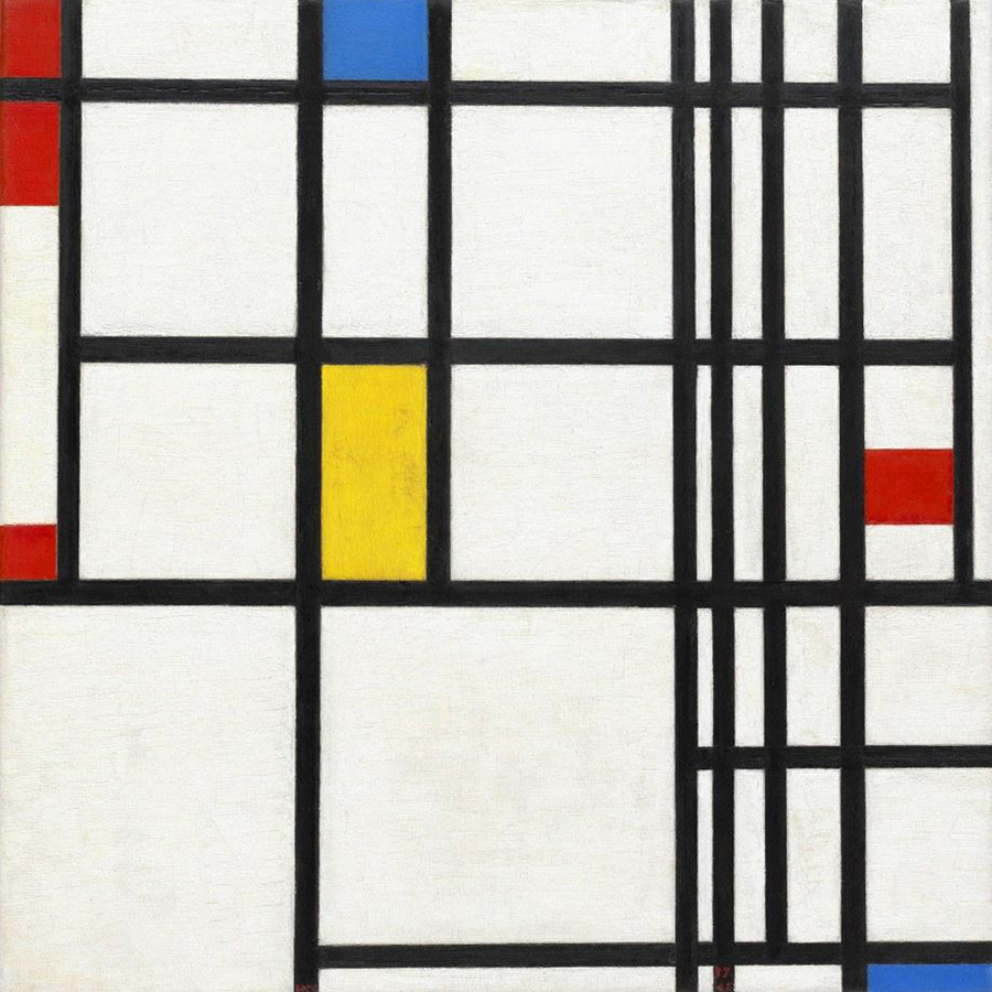 Composition Red Blue and YellowWhite Blue and Yellow by Piet Mondrian | Abstract Contemporary Paintings - Oil Paintings Gallery