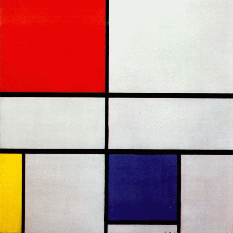 """Composition C with Red Yellow and Blue"" by  Piet Mondrian"