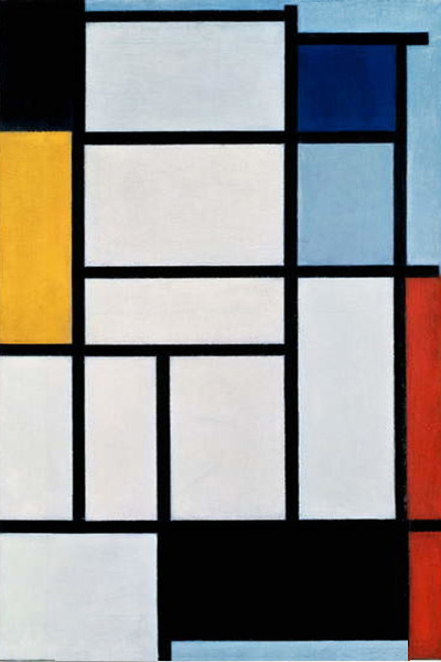 Composition with Red Black Yellow Blue and Grey by Piet Mondrian | Abstract Contemporary Paintings - Oil Paintings Gallery