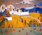 1902 Walled City in Autumn Landscape by  Wassily Kandinsky (Painting ID: AB-0114-KA)
