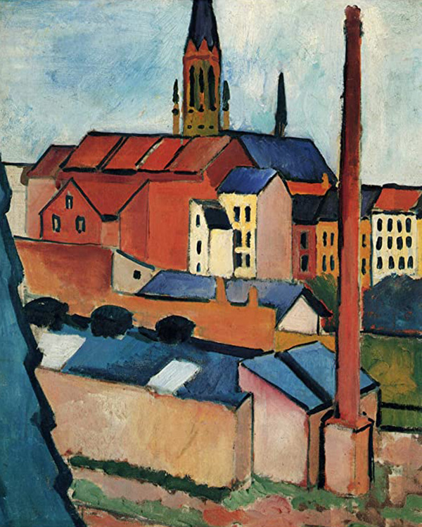 Houses with a Chimney by August Macke | Abstract Oil Paintings - Oil Paintings Gallery