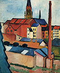 Houses with a Chimney by  August Macke (Painting ID: AB-0552-KA)