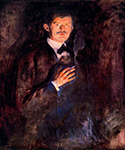 Self-Portrait with Burning Cigarette 1895 by  Edvard Munch (Painting ID: AB-0758-KA)