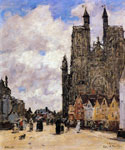 Abbeville, Street and the Church of Saint Folfran by  Eugene Louis Boudin (Painting ID: CI-0592-KA)