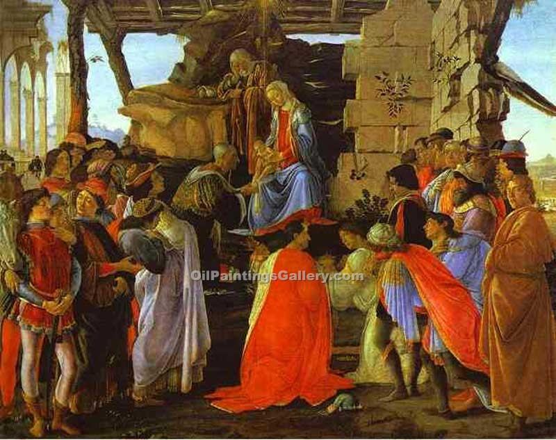 """Adoration of the Magi 55"" by  Sandro Botticelli"