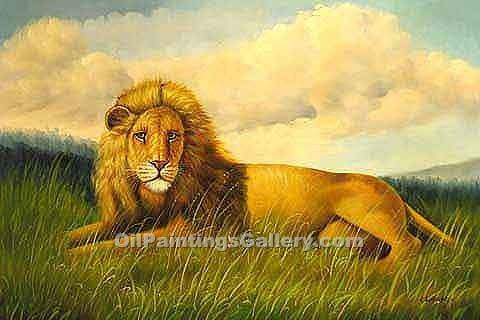 african lion painting id an 2004 ka. Black Bedroom Furniture Sets. Home Design Ideas