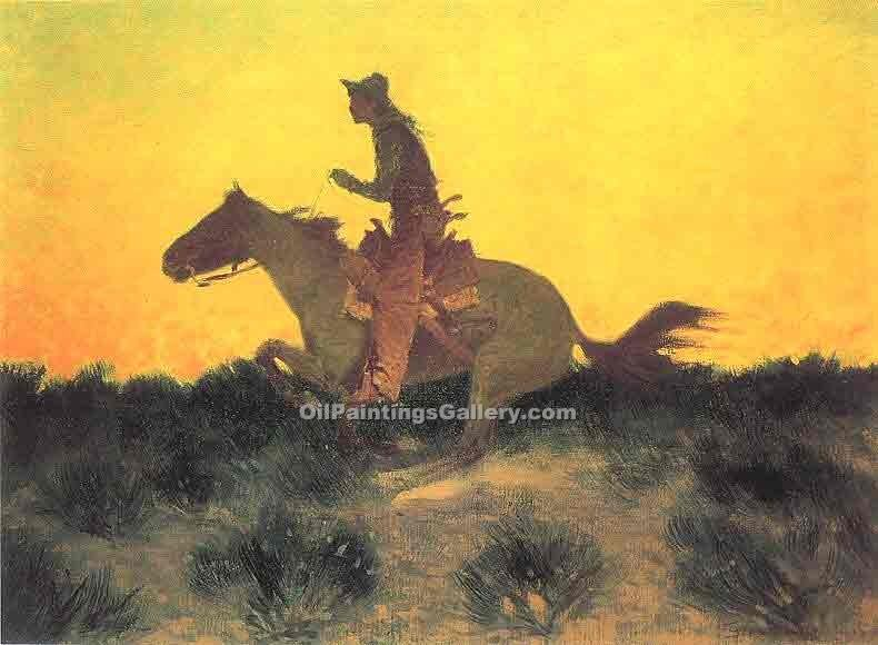 """Against the Sunset"" by  Frederic Remington"