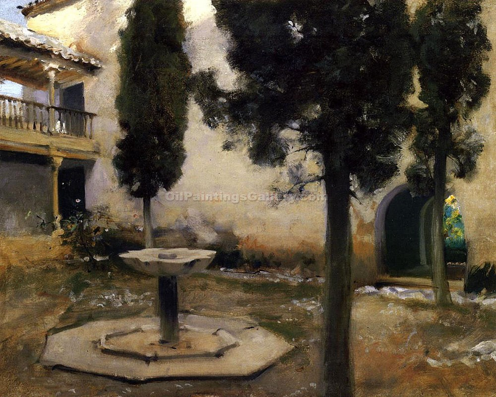 """Alhambra Courtyard"" by  John Singer Sargent"