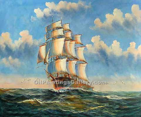 Buy Seascape Oil Painting Online - Art Reproductions | Realism & Naturalism styles - All Sails Set