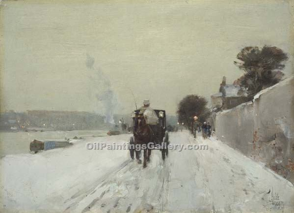 """Along the Seine 15"" by  Frederick Childe Hassam"