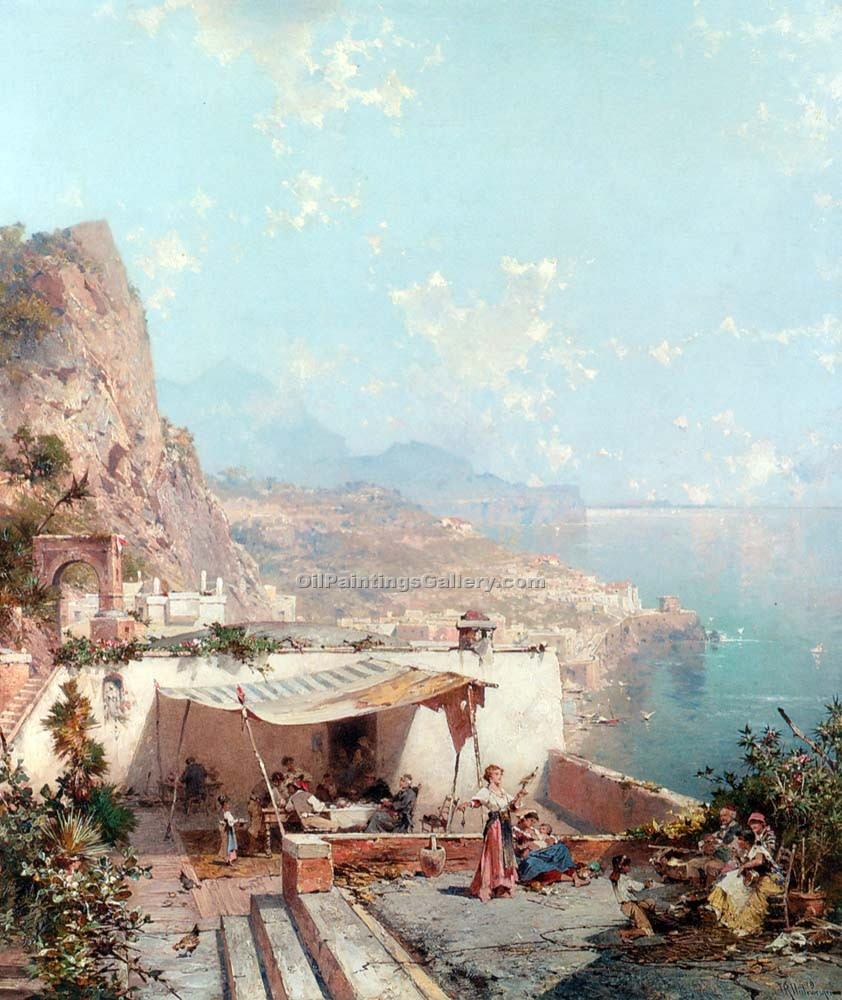 Amalfi Golfe de Salerne by Franz Richard Unterberger | Portrait Paintings - Oil Paintings Gallery
