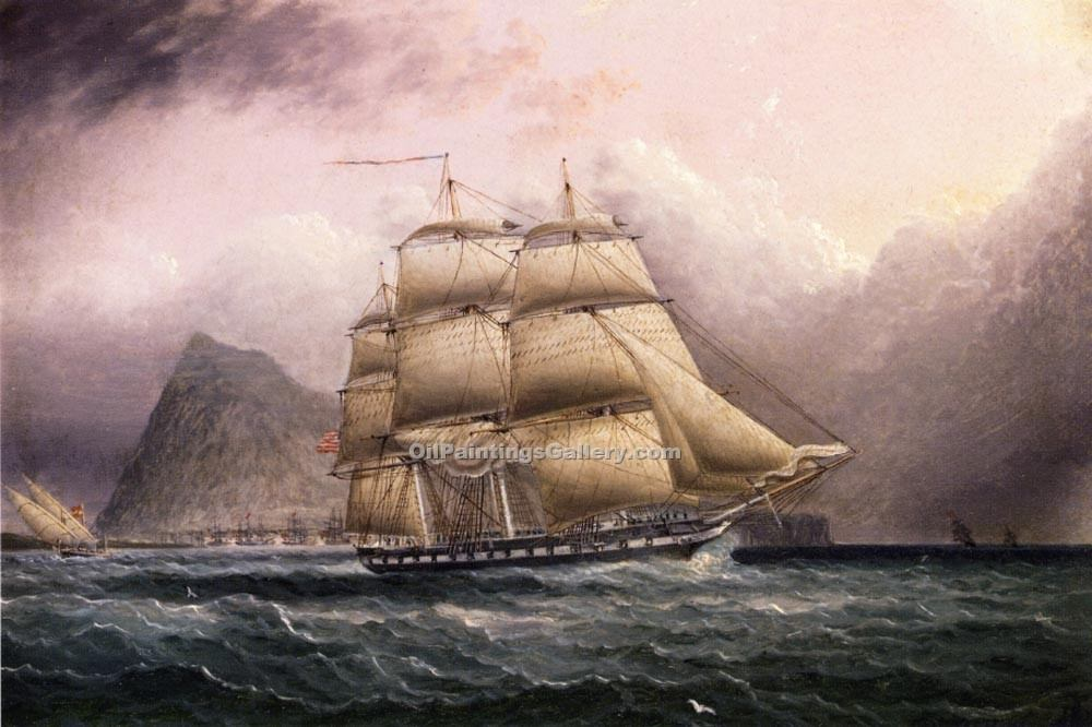 """American Frigate off Gilbraltar"" by  James E Buttersworth"