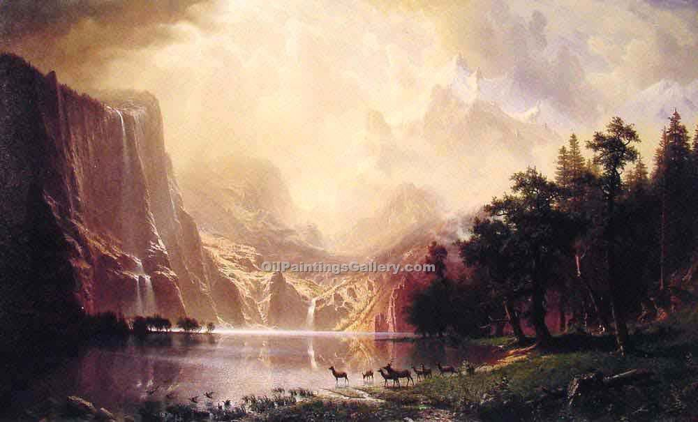 """Among the Sierra Nevada Mountains"" by  Albert Bierstadt"