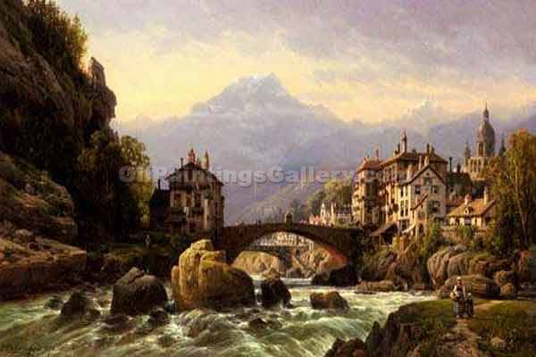 An Alpine Village by Charles Euphrasie Kuwasseg | Landscape Oil Paintings - Oil Paintings Gallery